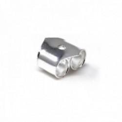 Fornituras plata Ley 925m para pendientes presión 6.3mm. pico 1 par (2 unidad)