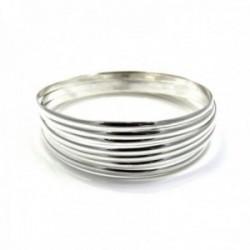 Pulsera aro plata Ley 925m mujer semanario media caña liso 7 aros diámetro 65mm. ancho 3mm.