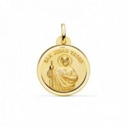 Medalla oro 18k San Judas Tadeo 20mm. bisel trasera PATRÓN DE LOS CASOS DIFÍCILES Y DESESPERADOS