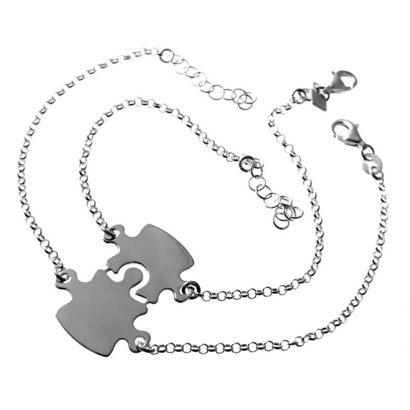 talla 40 7c089 af4ae Dos pulseras plata Ley 925m para separar cadena rolo 18cm. mujer piezas  puzzle cierre mosquetón