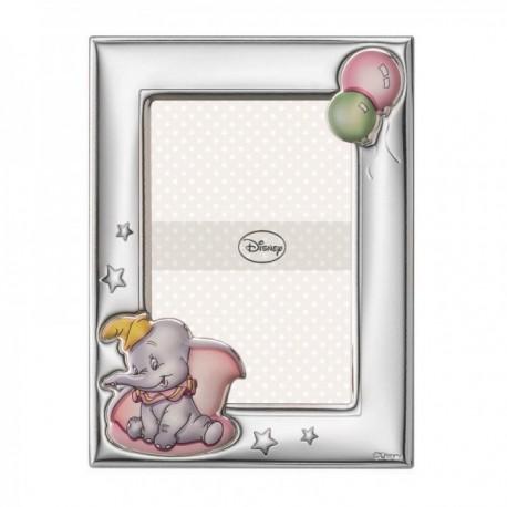 Marco portafotos plata Ley 925m Disney foto 9x13cm. Dumbo bilaminado globos estrellas rosa
