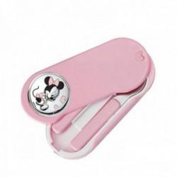 Set 2 cubiertos acero inoxidable 18/10 infantil estuche Disney Minnie plata Ley 925m bilaminada rosa