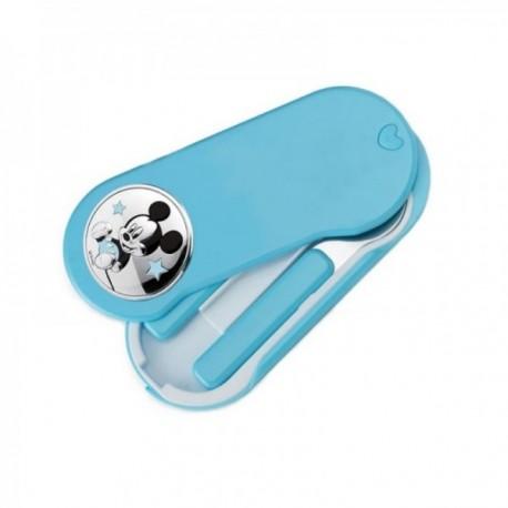 Set 2 cubiertos acero inoxidable 18/10 infantil estuche Disney Mickey plata Ley 925m bilaminada azul