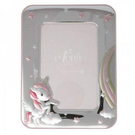 Marco portafotos plata Ley 925m foto 9x13cm. bilaminado unicornio rosa arcoiris