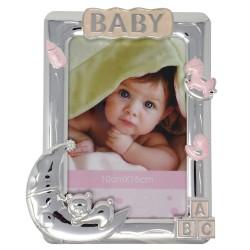 Marco portafotos metálico 10x15cm. BABY rosa detalles caballito oso luna biberón