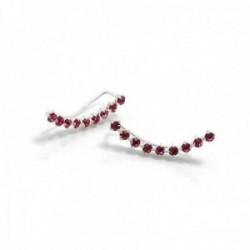 Pendientes plata Ley 925m trepador 21mm. largo piedras rosa