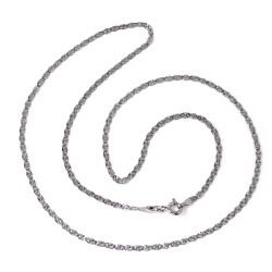 Cadena oro blanco 18k maciza diamantada 45cm. ancho 2mm. cierre reasa