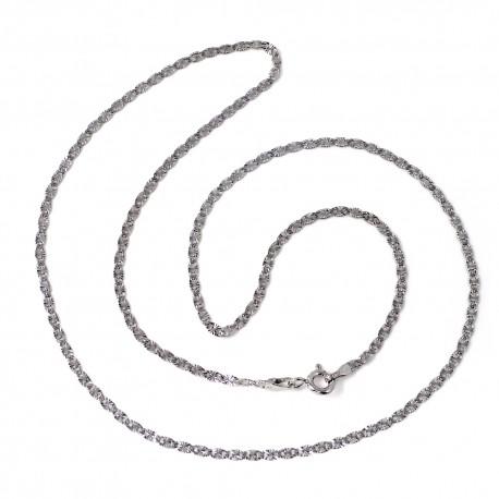 Cadena oro blanco 18k maciza diamantada 45cm. 2mm. 2.95 gr [9679]
