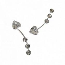 Pendientes plata Ley 925m trepador 21mm. largo piedras blancas corazón redondas