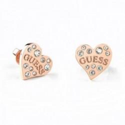 Pendientes Guess Heart Warming UBE78053 acero inoxidable quirúrgico corazón logo chapado oro rosa