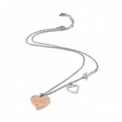 Gargantilla Guess Heart Warming UBN78067 acero inoxidable quirúrgico 51cm. corazón chapado oro rosa