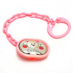 Pinza chupete bebé laminado plata Ley osito rosa [5171]