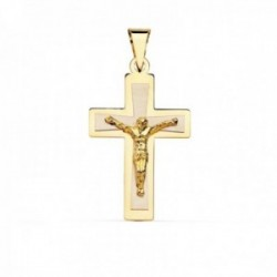 Colgante cruz oro bicolor 18k crucifijo 28mm. centro cristo palo plano