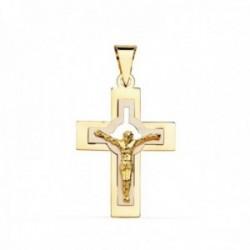 Colgante cruz oro bicolor 18k crucifijo 27mm. cristo centro calado palo plano