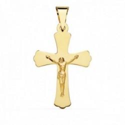 Colgante crucifijo oro 18k cruz lisa picos 34mm. centro cristo palo plano
