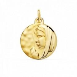 Medalla oro 18k 16mm. colgante María Francesa relieve