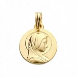 Medalla oro 18k colgante 14mm. María Francesa relieve lisa reasa tallada