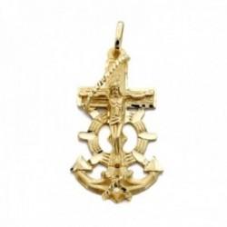 Colgante oro 18k cruz marinera 39mm. centro cristo calada tallada