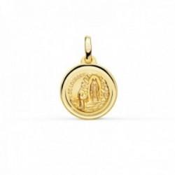 Medalla oro 18k Virgen de Lourdes 14mm. redonda cerco bisel