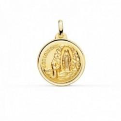 Medalla oro 18k Virgen de Lourdes 18mm. redonda cerco bisel