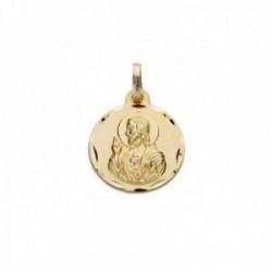 Medalla oro 18k escapulario 16mm. Virgen de Montserrat Corazón de Jesús cerco tallado