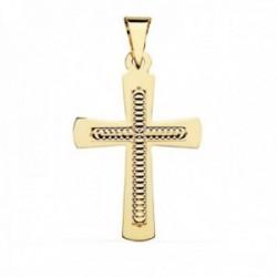Colgante cruz oro 18k 34mm. centro tallado formas círculos borde liso
