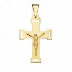 Colgante cruz oro 18k crucifijo 34mm. cristo lisa puntas rectángulos calados