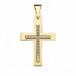 Colgante cruz oro 18k 34mm. centro tallado formas círculos borde recto