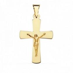 Colgante oro 18k cruz 34mm. crucifijo cristo lisa palo plano rectangular