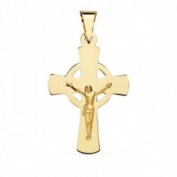 Colgante oro 18k cruz 34mm. crucifijo cristo lisa centro redondo calado palo plano rectangular