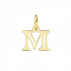 Colgante oro 18k letra M mayúscula 12mm. doble tira calada lisa