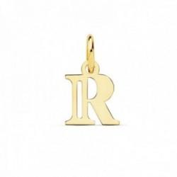 Colgante oro 18k letra R mayúscula 11mm. doble tira calada lisa