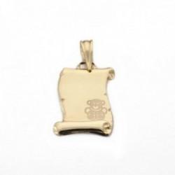 Colgante oro 18k pergamino liso 16mm. detalle osito esquina borde tallado