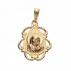 Medalla oro 18k Virgen Niña 22mm. forma lágrima detalle borde calado