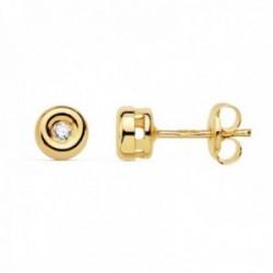 Pendientes oro 18k mujer 4.5mm. chatón diamante 0.040ct. cierre presión