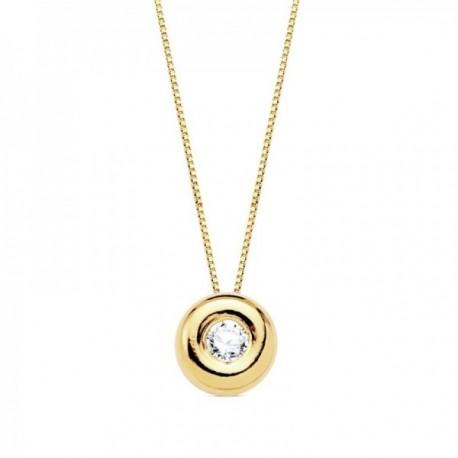 Gargantilla oro 18k cadena 42cm. chatón 2.20mm. diamante 0.045ct.