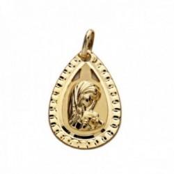 Medalla oro 18k Virgen Niña forma lágrima detalle cerco calado