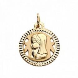 Medalla oro 18k Virgen Niña 16mm. redonda centro formas caladas cerco tallado