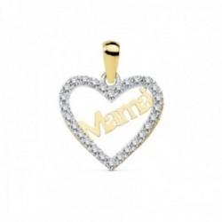 Colgante oro bicolor 18k corazón calado 15mm. MAMÁ borde circonitas