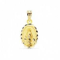 Medalla oro 18k Virgen Milagrosa 18mm. oval cerco tallado