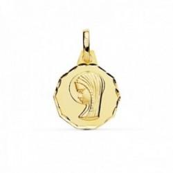 Medalla oro 18k Virgen Niña 14mm. redonda borde tallado