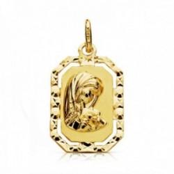 Medalla oro 18k Virgen Niña 20mm. forma octogonal borde tallado centro detalle calado