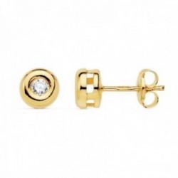 Pendientes oro 18k mujer 5.5mm. chatón diamante 0.14ct. cierre presión