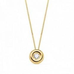 Gargantilla oro 18k cadena 42cm. chatón 2mm. diamante 0.035ct.