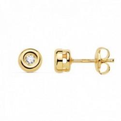 Pendientes oro 18k mujer 4.75mm. chatón diamante 0.07ct. cierre presión