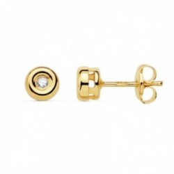 Pendientes oro 18k mujer 4.5mm. chatón diamante 0.05ct. cierre presión