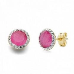 Pendientes oro 18k mujer 8mm. piedra rosa cerco circonitas cierre presión