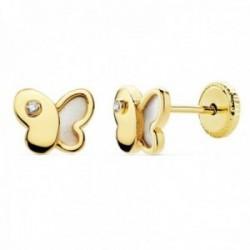 Pendientes oro 18k niña forma mariposa 7mm. nácar circonita cierre tornillo