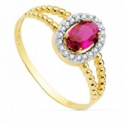 Sortija oro bicolor 18k mujer centro piedra roja 6x4mm. cerco circonitas laterales bandas