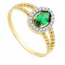 Sortija oro bicolor 18k mujer centro piedra verde 6x4mm. cerco circonitas laterales bandas